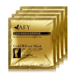 Wholesale Feet Softening - DHL Free Shipping AFY Gold Foot Mask 24k Gold Revitalizing Exfoliating Softening Feet Mask Remove Dead Cells Prevent Cracked Feet Tendering