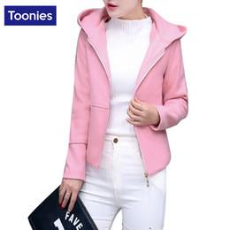 Wholesale Types Jacket Women - Wholesale- Women Solid Color Zipper Wool Blend Jacket Coat Five Colors Slim Short Type Ladies Outwear Clothing Basic Winter Jackets Fashion