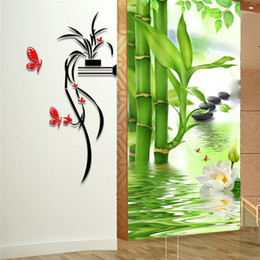 Wholesale Orchid Wall Arts - Acrylic 3D wall stickers Pastoral orchid flower Creative Home Decor DIY Removable simple Decoration Sticker 2017 wholesale Free delivery