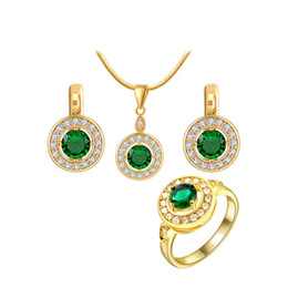 Wholesale Luxury Necklaces Gemstone Pendant - New Arrival 18K Gold Plated Pendant Necklace Earring Studs Gemstone Ring with Olivine Green Crystals For Women Luxury Jewelry Set