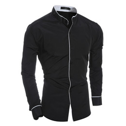 Wholesale Mens Designer Tuxedos - Wholesale- 2016 new designer shirts for men brand spring fashion long sleeve tuxedo shirt slim fit mens dress shirt size 2xl