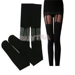 Wholesale Hosiery For Black Women - Wholesale- 2015 New Spring Summer Women Tights Black Slim Fit Thigh Lace Straps Tights For Women Transapent Lace Women Hosiery