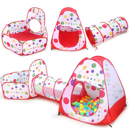 Wholesale Foldable Baby Playpen - 3 In 1 Portable Baby Playpen Children Kids Ball Pool Foldable Pop Up Play Tent Tunnel Play House Hut Indoor Outdoor Toys Fancing