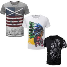 Wholesale Solid Colorful Shirt - Wholesale- 3 Printing Styles Fashion New Colorful Choice T Shirts Men's Slim Fit Stylish Short-Sleeve O Neck TX7X-An-F