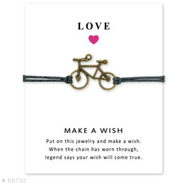 Wholesale Bicycle Jewelry Women - (10 pcs lot) Antique Silver Bicycle Charm Bracelets & Bangles for Women Girls Adjustable Friendship Statement Jewelry with Card