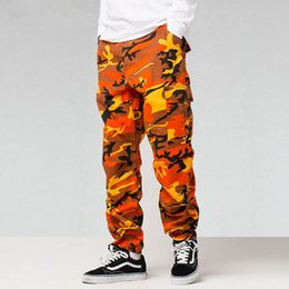 Wholesale Male Hip Hop Pants - Camo Cargo Pants for Mens Fashion Baggy Tactical Trouser 2017 Hip Hop Camouflage Military Multi Pockets Capris Guys Male Joggers Streetwear