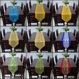 bandiere di seta Sconti 10 tipi di stili Upscale seta Brocade Tabella Runner Bandiera della casa Tabella tè in panno 33X200CM Tovaglia per nozze
