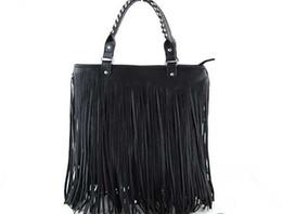 Wholesale Punk Tassel Fringe Handbag - Wholesale- sale Women's Fashion PU Leather Punk Tassel Fringe Handbag Shoulder Bag Ladies' Tote bag B054
