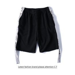 Wholesale Motion Active - Fashion Men's Hip Hop OFF WHITE High Quality Cotton relaxed Sweat Middle Shorts Kanye West Pirate Short Streetwear Elastic Motion Pants