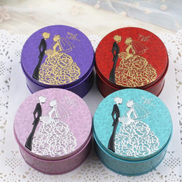 Wholesale Plate Candy Box - Romantic Lovers Candy Box Round Shape Tin Plate 7.5*4.5cm Party Supplies Wedding Favor Gift Boxes Chocolate Box ZA3779