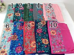 Wholesale Hijab Cotton Shawl - Wholesale- Embroidery Floral Shawl Scarves And Stoles Muslim Head Scarf Hijab Cotton Shawl Tassels Women Scarf bandana