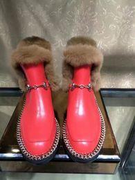 Wholesale Ladies Short Chain Designs - Women Winter Warm Snow Boots Ladies Casual Comfortable Women Design Chain Shoes Square Heel Plush Genuine Leather Brand Short Ankle Boots