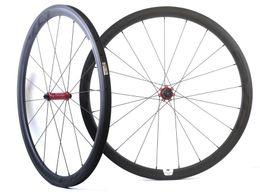 jantes en carbone en forme de u Promotion Roues de carbone 700C 38mm profondeur 25mm largeur roues de carbone roues de carbone tubulaires avec moyeu EVO droit, jante en forme de U