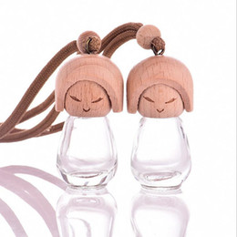 Wholesale Dolls Glasses - Fast Shipping 8ML Refillable Perfume Essential oil Doll Beauty Bottles Car Decoration Car perfume Bottles pendant F201728