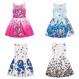 Wholesale rose princess skirt - One-piece Flower Girl Dresses Sleeveless Rose Blue Print Kids Dresses Party Princess Dress Bobble Skirt for Girls