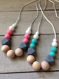 Wholesale Teething Necklaces Wood - Geometric Silicone Teething Necklace Gray Hexagon Silicone Wood Beads Safe Food Grade Nursing Necklace For New Mommy