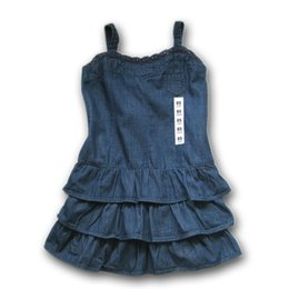 Wholesale Girl Smocked Dresses - 2-6Y) za girls Sling Cake Dress with Lace Smocked back vestido menina robe fillette girls denim tiered dress robe enfant fille free shipping