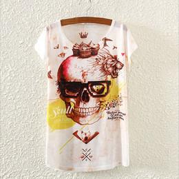 Wholesale Skull Womens Shirts - Wholesale-Novelty Skull Pattern Blusas Womens Tshirt Summer Dress 2016 Fashion Printed Top Tees New Design T Shirt For Girls T-Shirt S1729