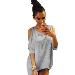 Wholesale Women Off Shoulder Puff Sleeve - Wholesale-Stylish Off Shoulder T Shirts Summer Tops Loose Female T-shirt Top Harajuku Blusa T shirt Women Simple Plus Size Women Tops