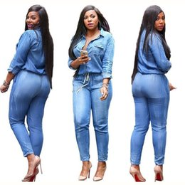 Wholesale Denim Long Sleeve Jumpsuit - 2017 spring New Fashion Women Long Sleeve Jeans Jumpsuit Handsome Deep V With Botton Rompers Full length Overalls Lady big Size