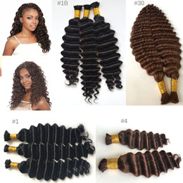 Wholesale human micro braid hair - 100g Bundle Deep Wave Curly Human Braiding Hair Bulk Brazilian Virgin Human Hair Extensions Micro Braids Color Natural Black #1 #2 #4 #30