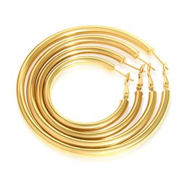 Wholesale Hoop Earrings Gold Polish - mixed sizes multiple sizes 4,5,6,7,8cm fashion jewelry smooth polishing 18k gold plated hoop earrings yellow gold hoops #006Y
