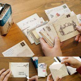Wholesale Envelope Window - Wholesale- 12pcs lot 9.5*7.2cm Vintage Stationery Ancien Gift Envelope Mini Pack Card Paper Envelopes Window Gift Ordinary Office Envelopes