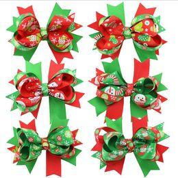 Wholesale Korean Colors Christmas - Mix 6 Colors Baby Boutique Christmas Grosgrain Ribbon fishtail hairpin Korean Kids Alligator Barrettes Children Hair Accessories