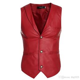 Wholesale Men Sleeveless Leather Jacket - New Faux Leather Jacket Vests Men Red White Black Single Breasted V Neck Mens Waistcoat Slim Fit Sleeveless Coat