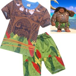 Wholesale Summer Sport Suit For Kids - MOANA Summer Children Clothing Set Baby Moana Maui T shirts Sport Suit for Boys Girl T Shirt 2 Pcs Clothes Pants Kids Top Tees