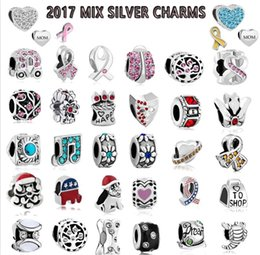 Wholesale Black Cross Charms - 2017 Mix Charms Free Shipping 100pcs Mix Style Antique Silver Plated Alloy Big Hole Beads fit pandora Bracelet DIY Jewelry