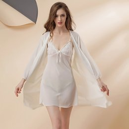 Wholesale Sexy Transparent Nightgowns - Wholesale- Super Slim Transparent Temptation Sexy Nightgown Robe Set Lace Satin Gown Chiffon Home Bathrobe Nightdress Summer Pajamas Robes