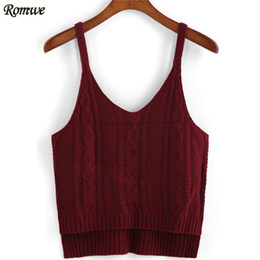 Wholesale Dip Hem - Wholesale- ROMWE Casual Knitted Tops Feminina High Street Fashion European Style Spaghetti Strap Dip Hem Wine Red Crop Camisole