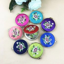 Wholesale Mirror Compact Silk - Free Shipping Taobao Cheap Chinese Style Silk Wedding portable Embroidery Double Side Compact Mirror Favors wholesale