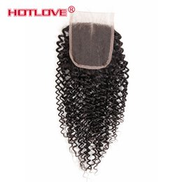Wholesale Kinky Curly Hair Pieces - 4x4 Brazilian Peruvian Malaysian Indain Virgin Hair Lace Top Closure Pieces Kinky Curl Hair Lace Closure with Baby Hair Free Middle 3 Wavy