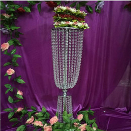 Wholesale Wedding Candelabra Decorations - Party Decoration 80cm Tall* 20cm Wedding Candle Holder Romantic Standing Wedding Candlestick Wedding Flower Stands Silver Candelabra
