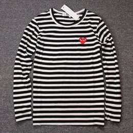 Wholesale Boys Striped Shirts - Wholesale-100% Cotton Famous Brand Men &Women Casual Hip Hop T Shirt Popular Dot Striped Long Sleeve Boys T Shirts For Lovers
