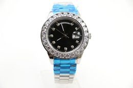 Wholesale Ring Mm Diamond - Big size 18ct silver 44mm luxury brand Day-Date silver Stainless black face Big diamond ring sapphire automatic Mechanical Wrist Watches