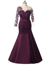 Deutschland Rose Moda Long Sleeves Purple Mermaid Mutter Kleider Formal Appliques Party Kleid Plus Size Perlen Abendkleider 2017 Custom Made Versorgung