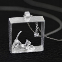 Wholesale Cat Colar - Wholesale-925 Sterling Silver Necklace Silver Chain Cat Kitty Necklaces & Pendants For Women Girl Fine Jewelry Collares Colar de Plata D5