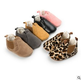 Wholesale Leopard Lace Slip - Baby shoes toddler kids leopard grain moccasins baby girls boys thicken winter warm shoes babies PU leather first walker R0116