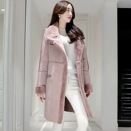 Wholesale Ladies Gray Leather Jacket - 2017 Women Suede Leather Coats Long Double Breasted Trench Coats Female Winter Jackets Ladies Faux Sheepskin Windbreakers