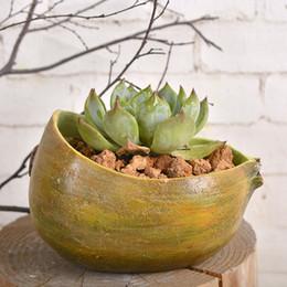 Wholesale Fruits Crafts - succulents pots Decorative Creative Resin Artificial Kiwi fruit flower pots plant succulent pots put desk home decoration Crafts wholesale