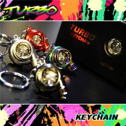Wholesale Turbocharger Ring - Wholesale 13 colors ELECTRONIC led TURBO KEYCHAIN Led usb Sleeve Bearing Turbine Turbocharger Keyring Key Chain Ring Keyfob