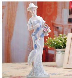 Wholesale New Beauty Business - Decoration Arts crafts girl gifts Elegant Western ceramic beauty figurine ornaments home decors decorative creative ceramic crafts porcelain
