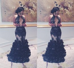 Wholesale Pageant Dress Girls Size 16 - 2017 Sexy Mermaid South African Black Girls Prom Dress Pageant Ruffles Keyhole Neck Long Formal Evening Party Gown Plus Size Custom Made