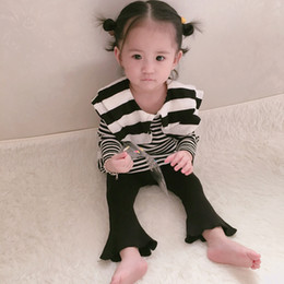 Wholesale Double Layer Shirts - INS Toddler kids bottoming shirts cute Baby girls stripe cotton long sleeve blouses Infant double layers lapel tops Baby sweet clothes C1819