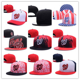Wholesale Team Hat Brands - Hot new style Top Quality Washington Nationals Baseball Adjustable Hats Classic Navy Blue Color With White W Brand Sports Team Flat Caps