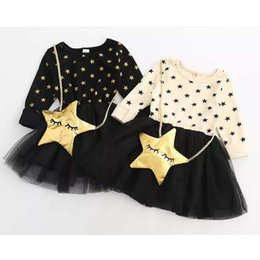 Wholesale Korean Lace Dresses - 2018 Girls Dress Christmas Kids Clothing Winter Long Sleeve Lace Tutu Dress Korean Fashion Star Dress with Bag