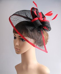 Wholesale blue hair fascinators - Free shipping 17 colors white and black sinamay fascinators headwear colorful mesh feather party show hair accessories millinery hatMYQ082
